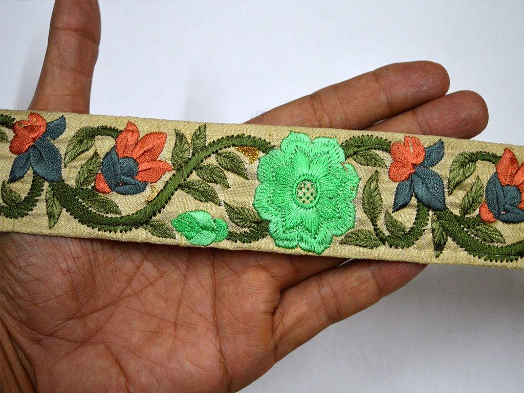 Cinta bordada de tela india de 4,8 cm por 9 yardas para disfraz, costura, manualidades, decoración, decoración del hogar, cordones de Navidad al por mayor, ...