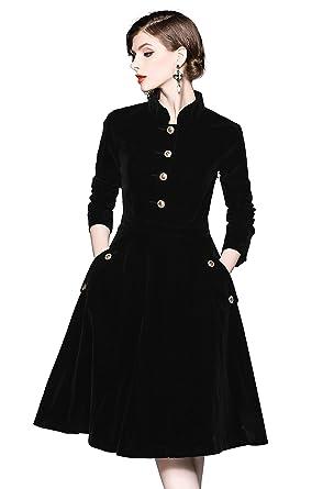 9832283b66 Women s Vintage Long Sleeves Velvet Button Up Swing Midi Dress Autumn Winter