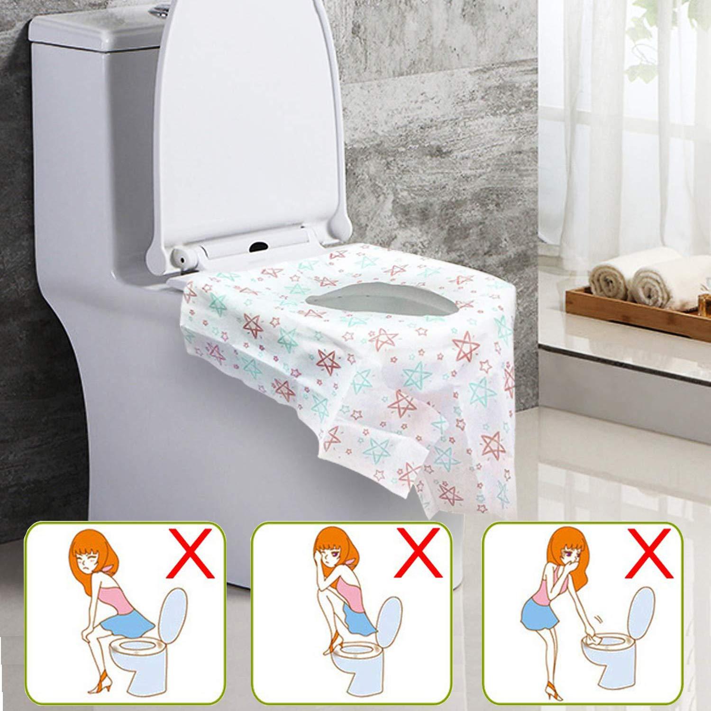 oilette Auflage einzeln verpackt Einweg-Toilettensitzbez/üge aus Papier Wasserdicht Toilettensitze f/ür Einkaufszentren 10 St/ück Restaurants Krankenhaus B/üro