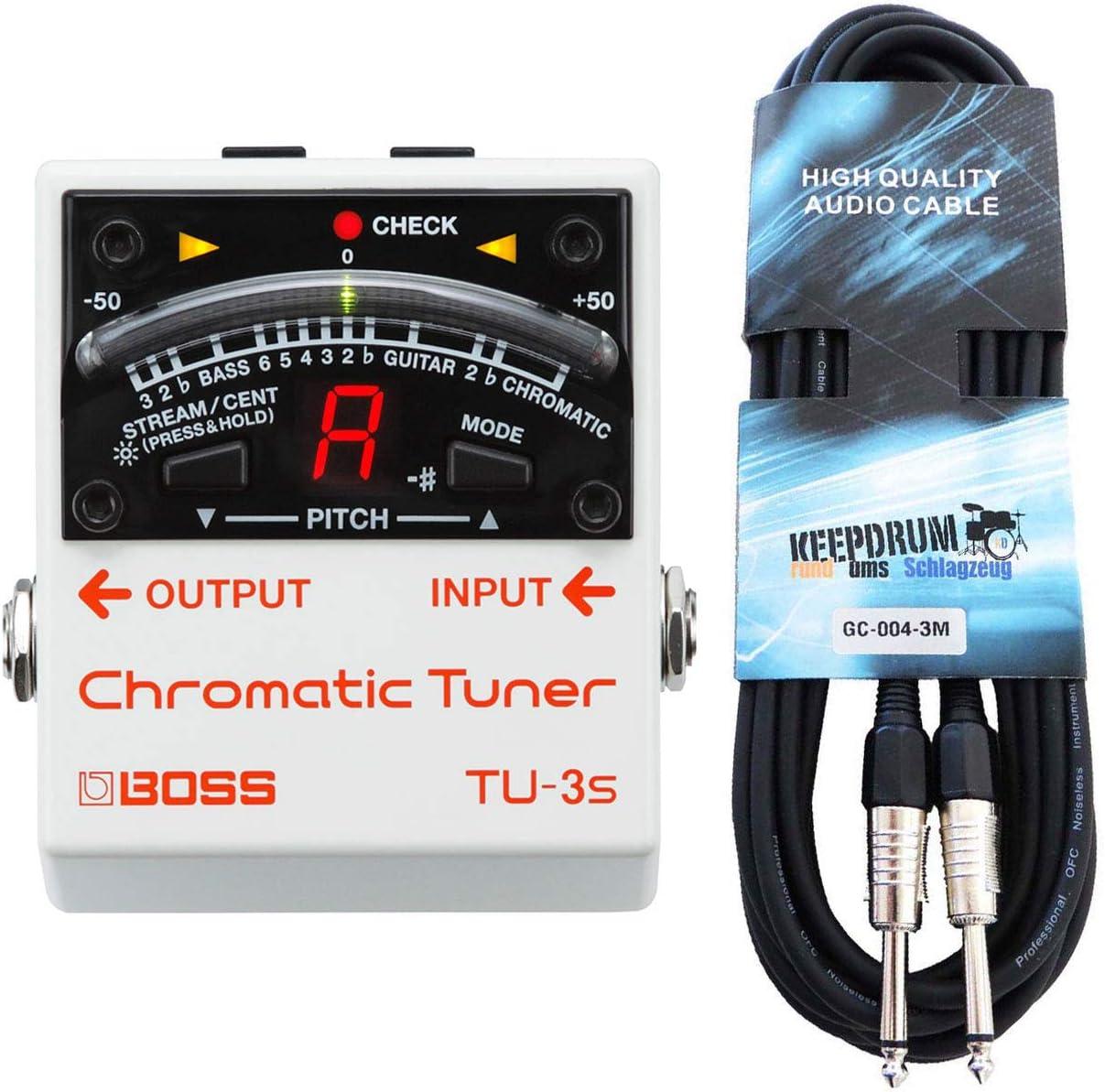 Boss TU-3S - Afinador cromático y cable keepdrum para guitarra (3 m)