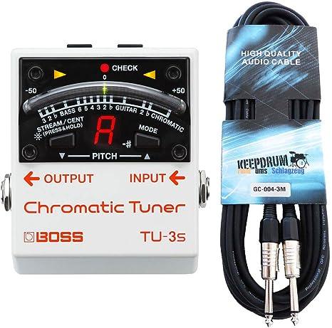 Boss TU-3S - Afinador cromático y cable keepdrum para guitarra (3 ...