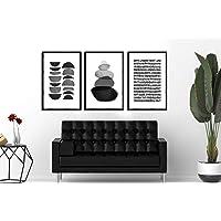 Cerceve Home - Çerçeveli Poster Tablo Seti - Lines and Stones - 33 x 48 cm