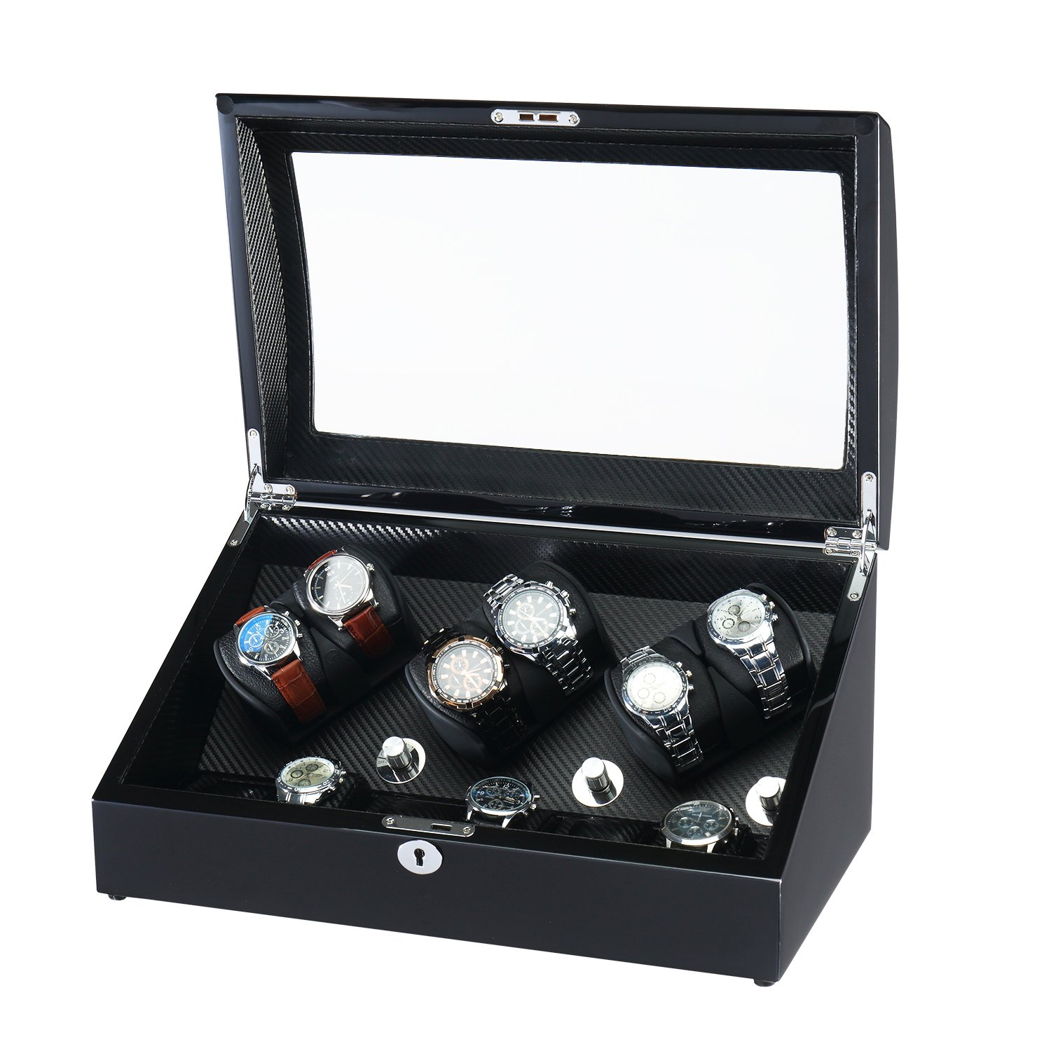 OLYMBROS Wooden Automatic Watch Winder 6+6 Storage Boxes for 12 Watches with LED Light