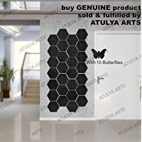 Wall1ders Atulya Arts - 3D Hexagon Acrylic Stickers (Pack of 28) with 10 Butterflies, Acrylic Mirror Wall Stickers for Home & Offices