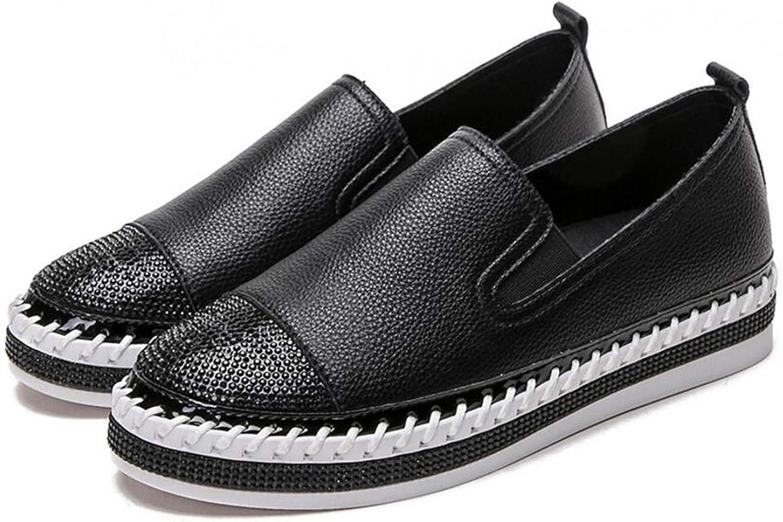 Sneerrt Zapatos de Patchwork Mujer Pisos en Cuero Genuino ...