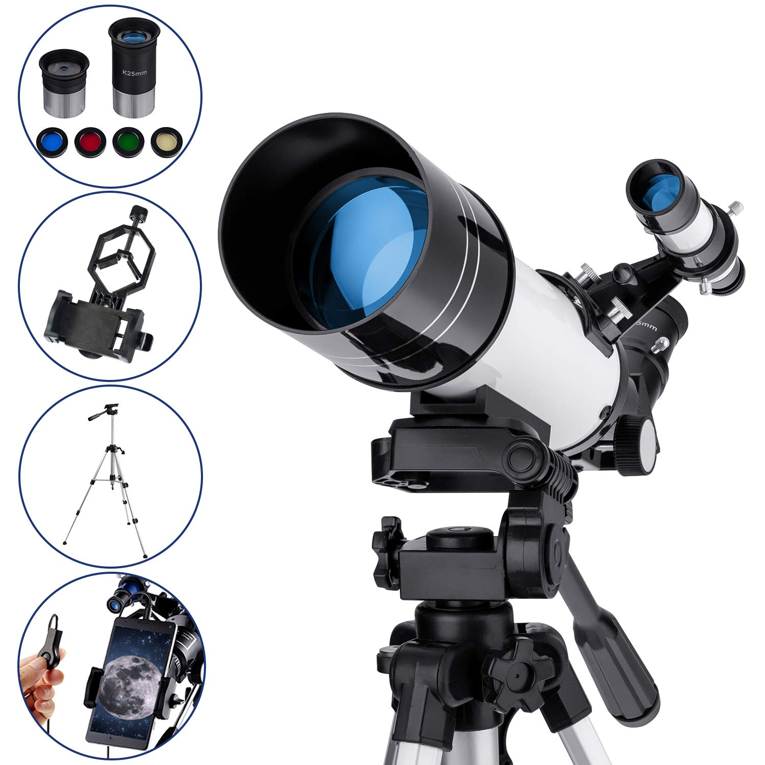 MAXLAPTER Refractive Astronomy Telescope, HD High Magnification, Dual-Use, Suitable for Adults or Children Beginners, Portable, Equipped with Tripod, Smartphone Adapter by MAXLAPTER