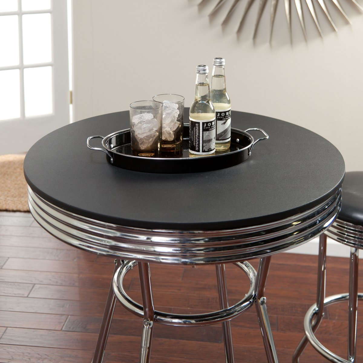 Amazon.com: Roundhill Furniture Retro Style 3 Piece Chrome Metal Bar Table  And Stools: Kitchen U0026 Dining