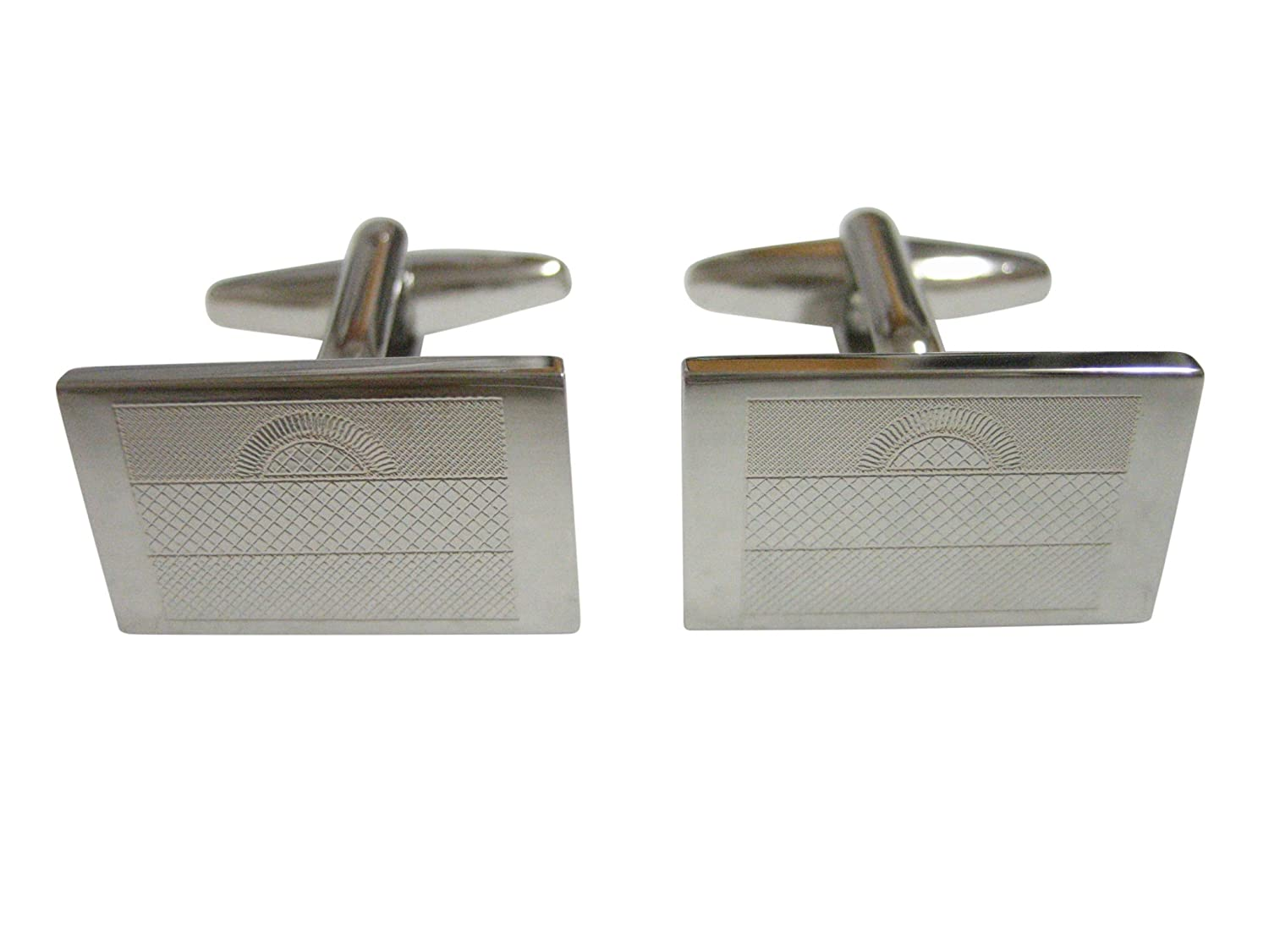 Silver Toned Etched Malawi Flag Cufflinks