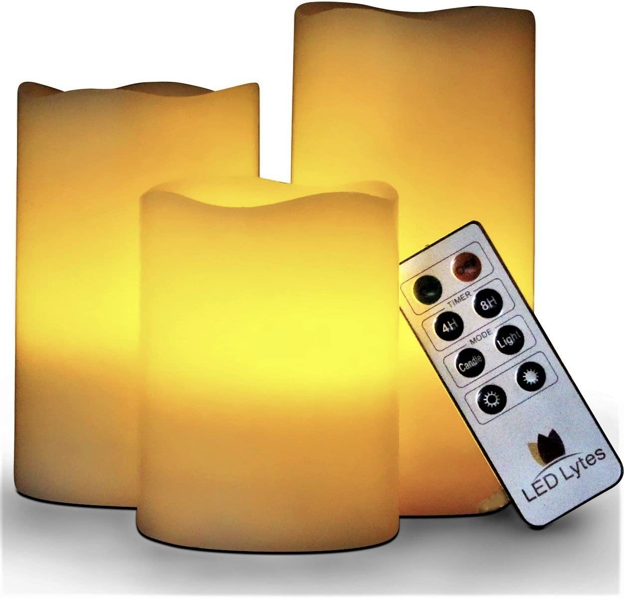 LED Lytes Battery Operated Candles, Set of 3 Ivory Wax Pillar LED Candles with Flickering Amber Flame and Timer Remote Control Battery Operated Candle for Decorations and Gifts
