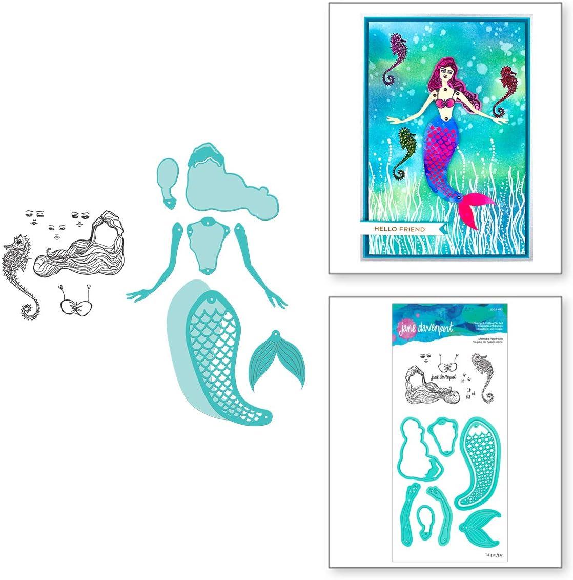 Pink /& Main Fantastic Stamp and Die Set cards scrapbooking fish bowl sentiments 17 stamps16 dies paper crafting seashells seaweed