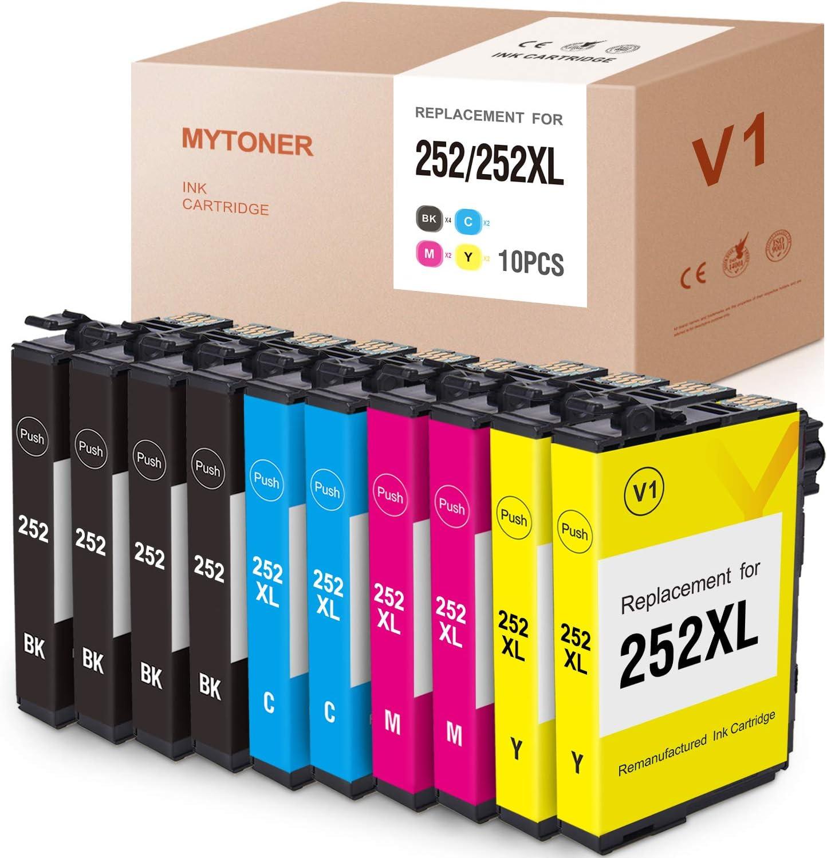 MYTONER Remanufactured Ink Cartridge Replacement for Epson 252XL 252 XL 252 Ink for Workforce WF-7710 WF-7720 WF-3620 WF-3640 WF-7610 WF-7620 WF-3630 Printer(4-Black 2-Cyan Magenta Yellow,10-Pack)