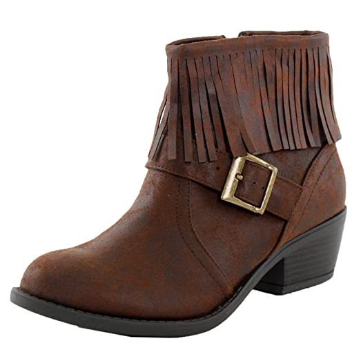 Nikita-S Fringe Chunky Stacked High Heel Ankle Booties Boots