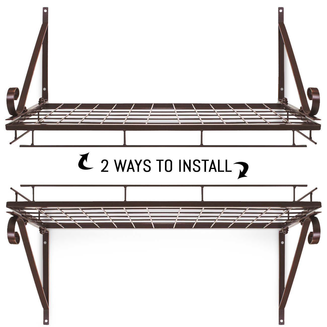 Sorbus Pots and Pan Rack — Decorative Wall Mounted Storage Hanging Rack — Multipurpose Wrought-Iron shelf Organizer for Kitchen Cookware, Utensils, Pans, Books, Bathroom (Wall Rack - Bronze) by Sorbus (Image #4)