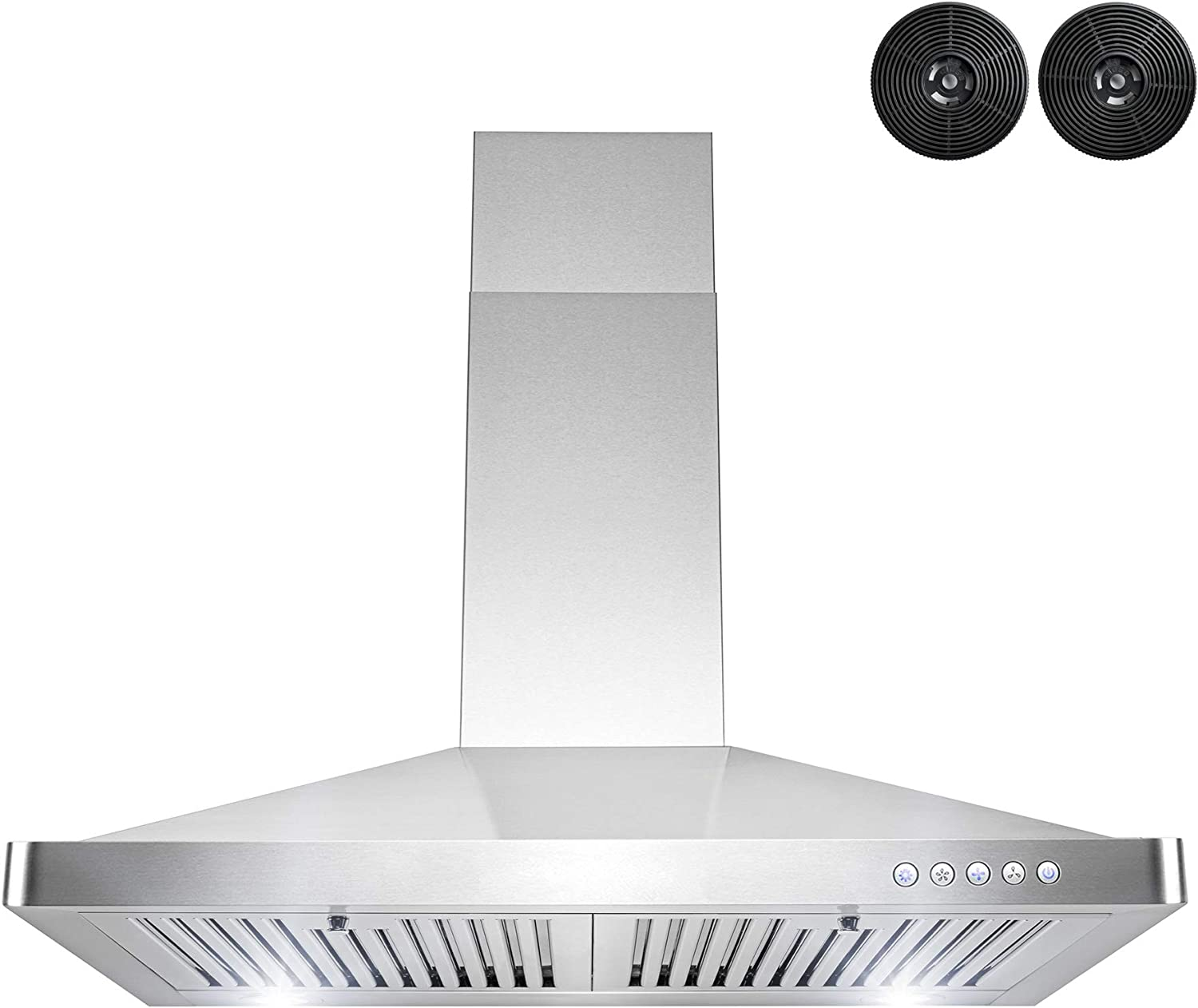 AKDY 30 in. Convertible Stainless Steel Wall Mount Range Hood with LED and Carbon Filters