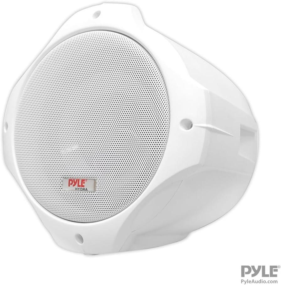 "Waterproof Marine Wakeboard Tower Speakers - 6.5in Dual Subwoofer Speaker Set and 1"" Tweeter with 200 Watt Power - 2-way Boat Audio Stereo System with Mounting Bracket - 1 Pair - PLMRW65 (White)"