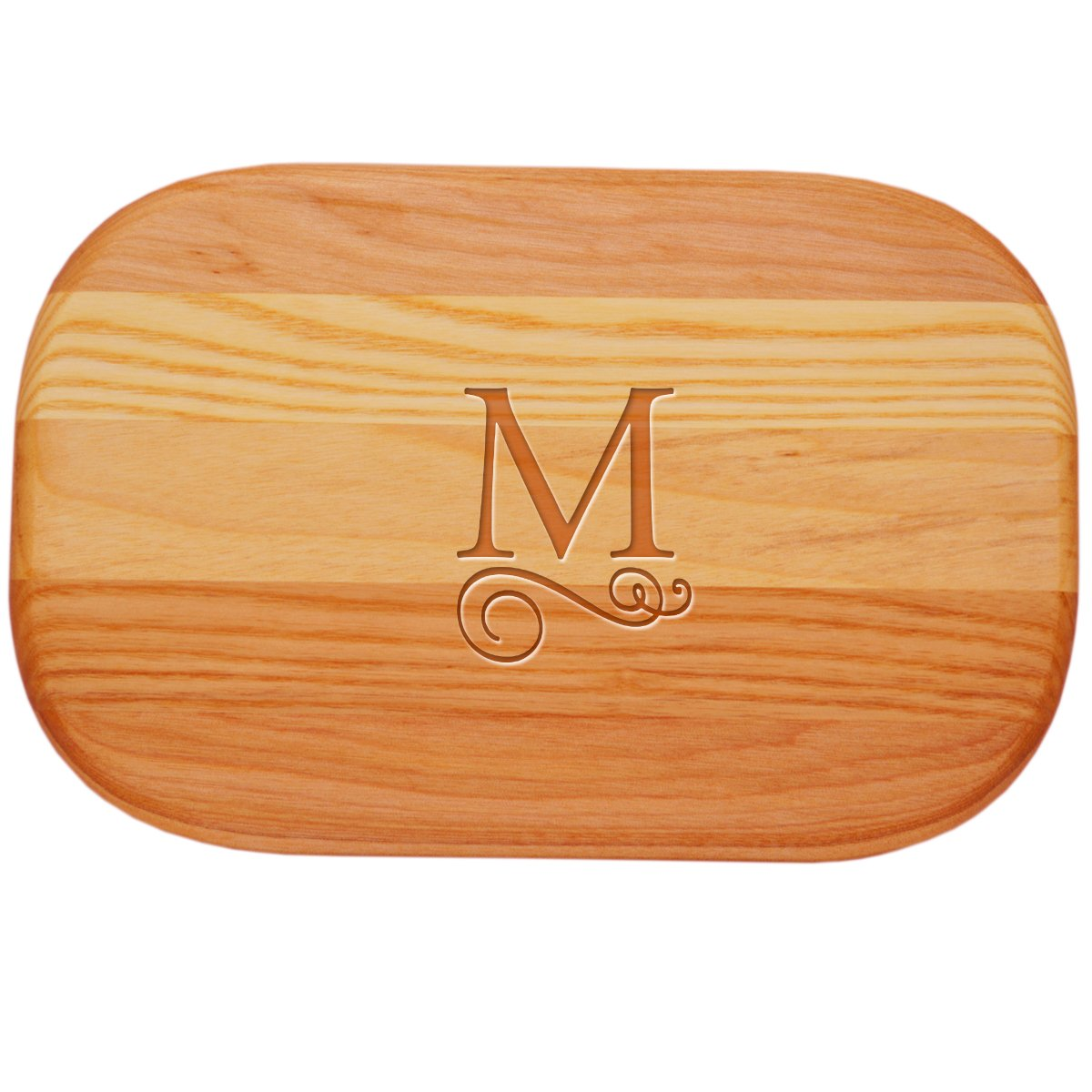 Carved Solutions 735255446258  Small Everyday Board with Etched Flourish initial M.