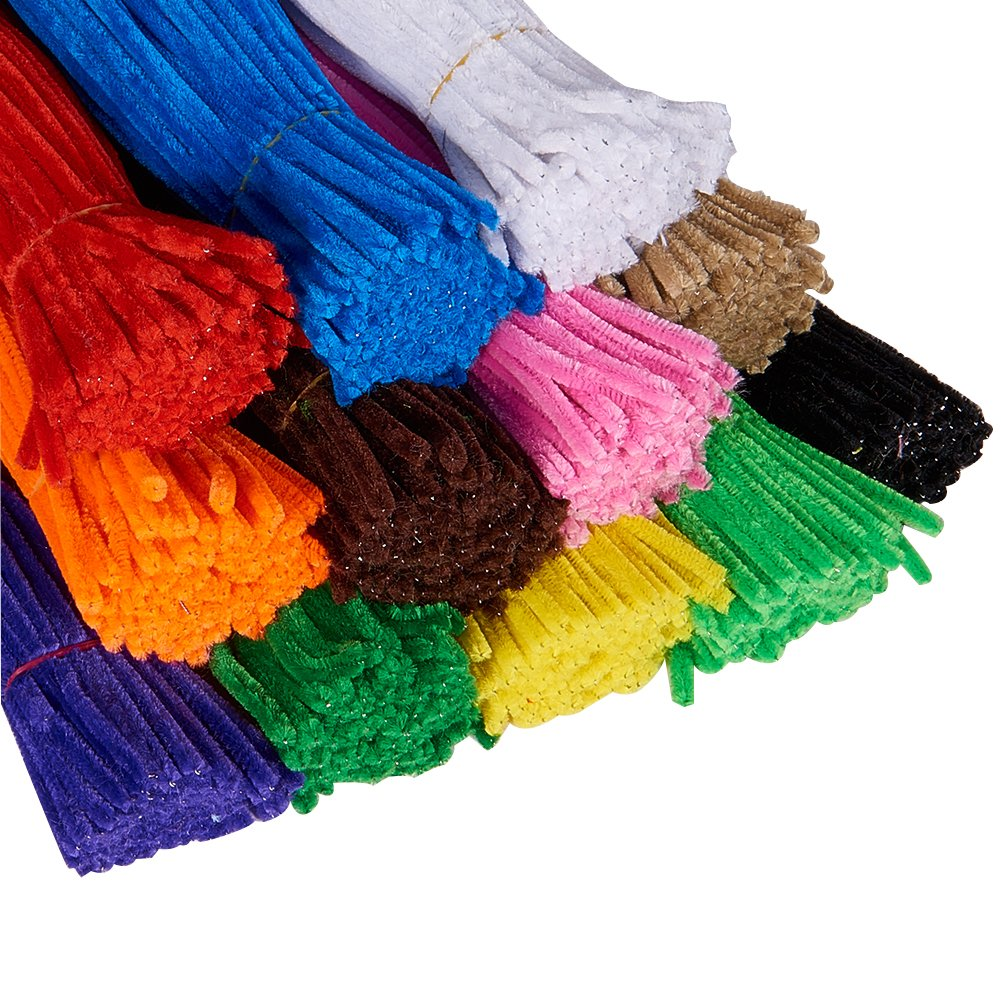 PandaHall Elite About 1140 Pcs Pipe Cleaners Bump Chenille Stem Classroom DIY Craft Size 5x300mm Pack 12 Colors Assorted