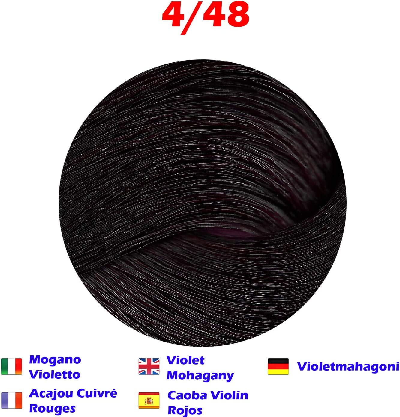 Tinte de Pelo Profesional Caoba Violín Rojos Caoba con Amoníaco 4/48 Permanente 100ml Made in Italy