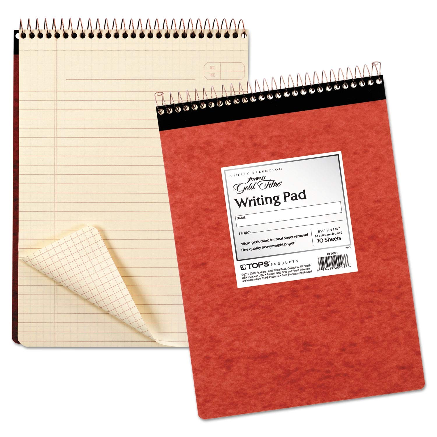 Ampad Gold Fibre Retro Wirebound Writing Pad, Legal, 8 1/2 x 11 3/4, Ivory, 70 Sheets - 20-008R (Pack of 2) by Ampad