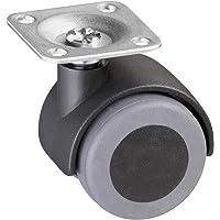 Metafranc Dubbele wielen Ø 40 mm - 38 x 38 mm plaat - TPR-wiel - zacht loopvlak - glijlager - 30 kg draagkracht…