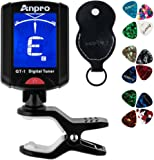 Anpro Clip on GT-1 Digital Tuner, 12 Pack Guitar Picks Include 0.46mm 0.71mm 0.96mm and 1 Pack Leather Key Chain Pick Holder For Guitar Ukulele Chromatic Violin