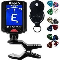 Anpro JT-10 Clip-On Digital Tuner Stimmer + 12 x Plektrum Plektron Picks mit 3 verschiedene Stärken + 1 x Pickholder, Plektrumhalter für Gitarre, Violine, Ukulele, Chromatisches Stimmgerät, EINWEG