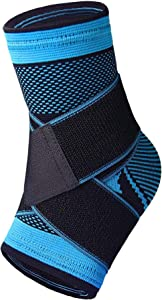 Ankle Brace, Ankle Support for Women and Men, Adjustable Ankle Sleeve, Arch Brace Support & Foot Stabilizer, Ankle Wrap Protect Against Ankle Sprains or Swelling, Effective Joint Pain Foot Pain Relief from Heel Spurs (single)