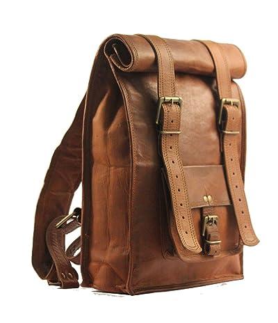 Urban Dezire Men's Leather Vintage Roll On Laptop Backpack Rucksack