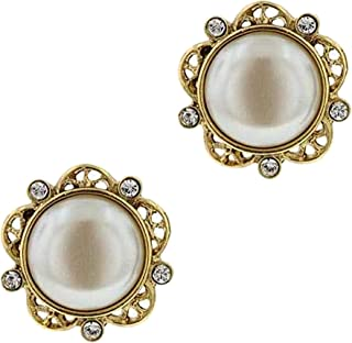 "product image for 1928 Jewelry""Her Majesty"" Crystal And Simulated Pearl Button Earrings"
