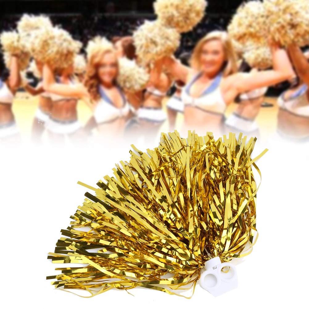 Vbestlife Cheerleader Pom Poms 12pcs Cheerleading Poms Metallic Foil Pom Poms Squad Cheer Sports Party Dance Useful Accessories
