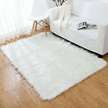 OJIA Deluxe Soft Modern Faux Sheepskin Shaggy Area Rugs Children Play Carpet for Living & Bedroom Sofa (3 x 5ft, Ivory White)