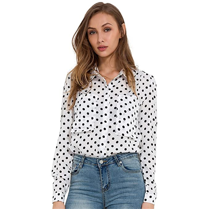 Xuefangshangyi Polka Dot ShirtWomen Tops Chiffon Blouse Long Sleeve Pocket Casual Elegant Shirts Womens Clothing