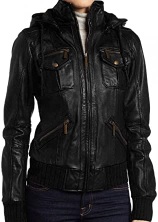 Soft Lamb Skin Hoodie for Ladies Women/'s Hooded Leather Jacket