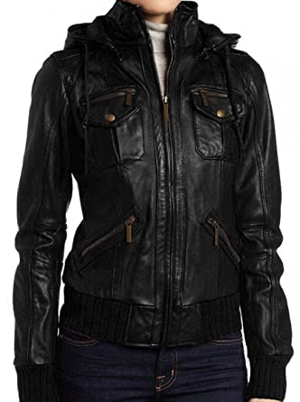 72b9726a0d7 The Leather Factory Women s Lambskin Detachable Hooded Leather Bomber Jacket  XS Black