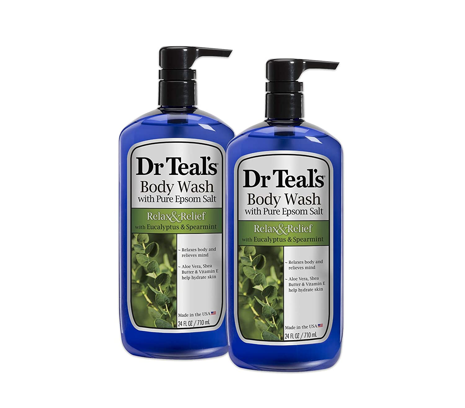 Dr Teal's Body Wash, Relax & Relief with Eucalyptus & Spearmint 24 oz (Pack of 2) Dr Teal's Body Wash Dr. Teal's