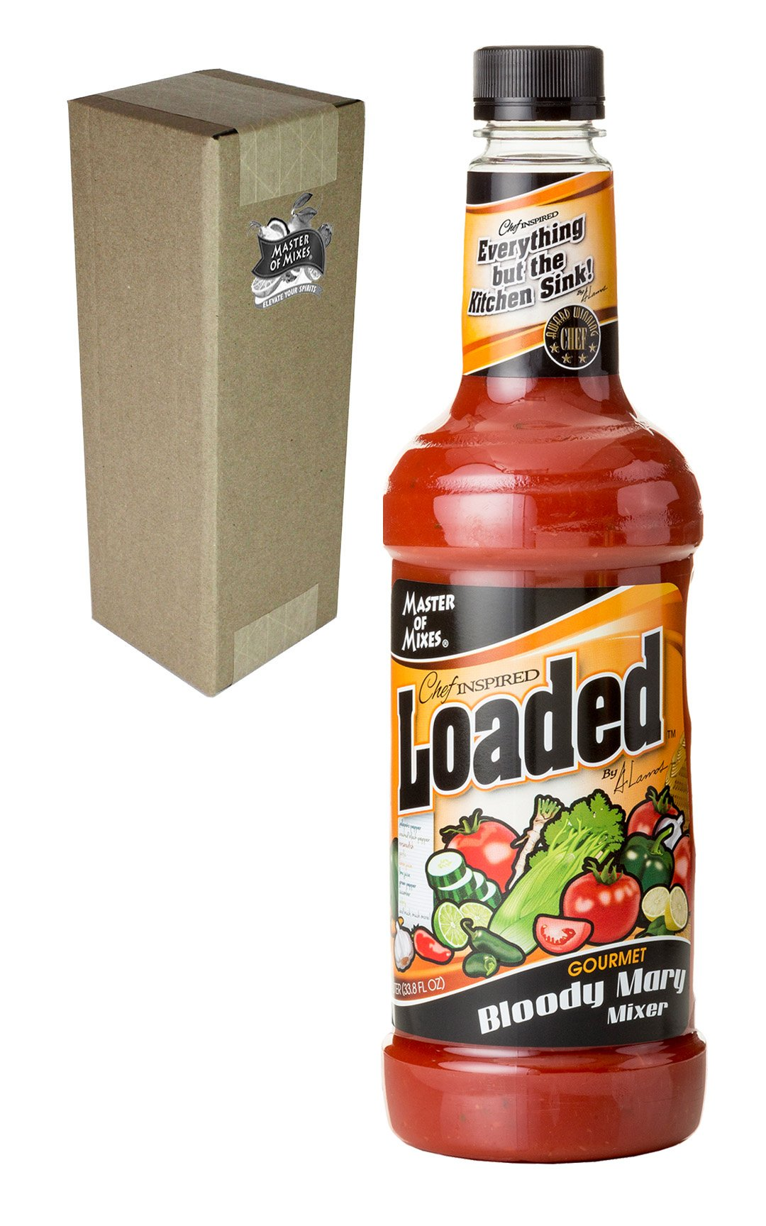 Master of Mixes Loaded Bloody Mary Drink Mix, Ready To Use, 1 Liter Bottle (33.8 Fl Oz), Individually Boxed