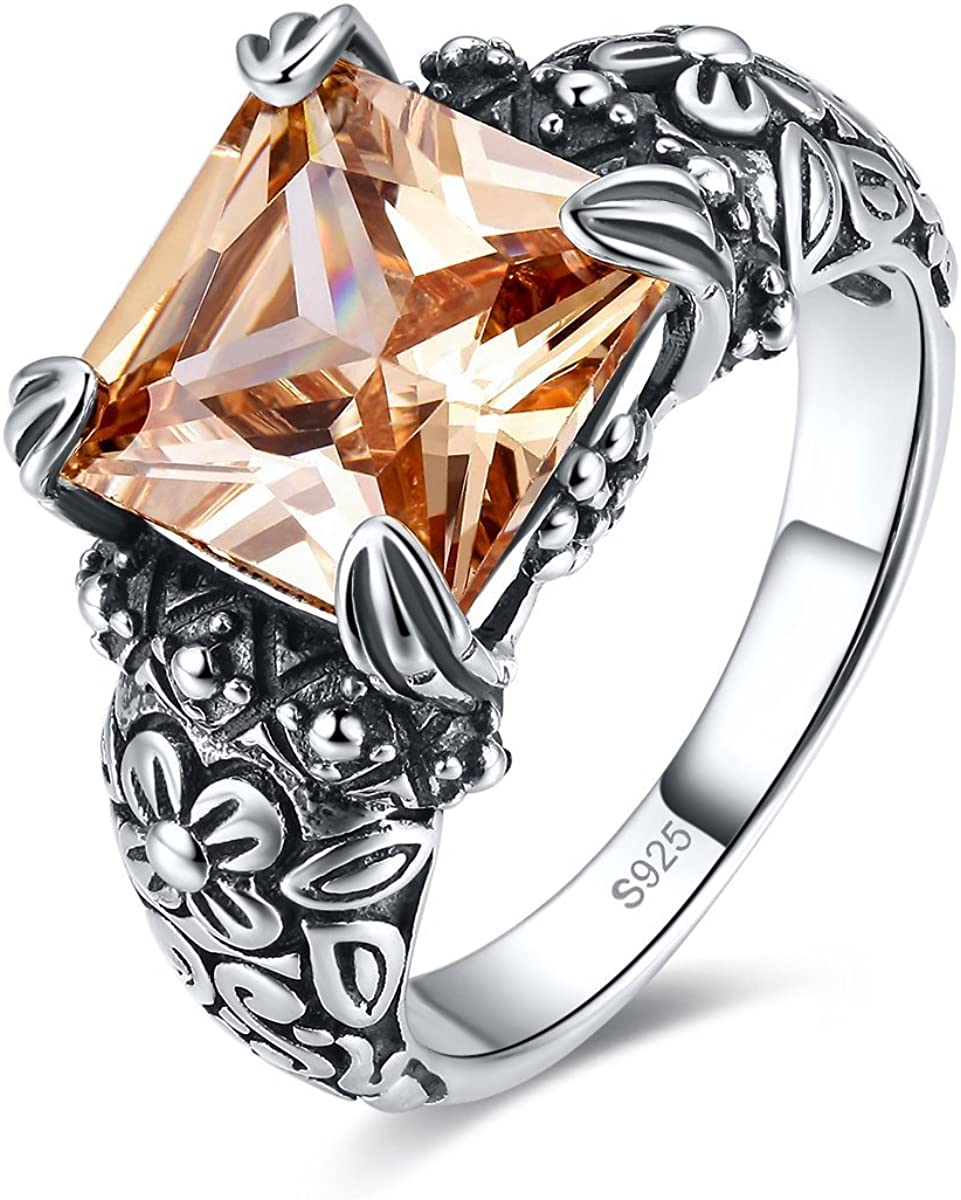 Merthus Antique 925 Sterling Silver Floral Band Created Mystic Rainbow Topaz Gemstone Ring for Women