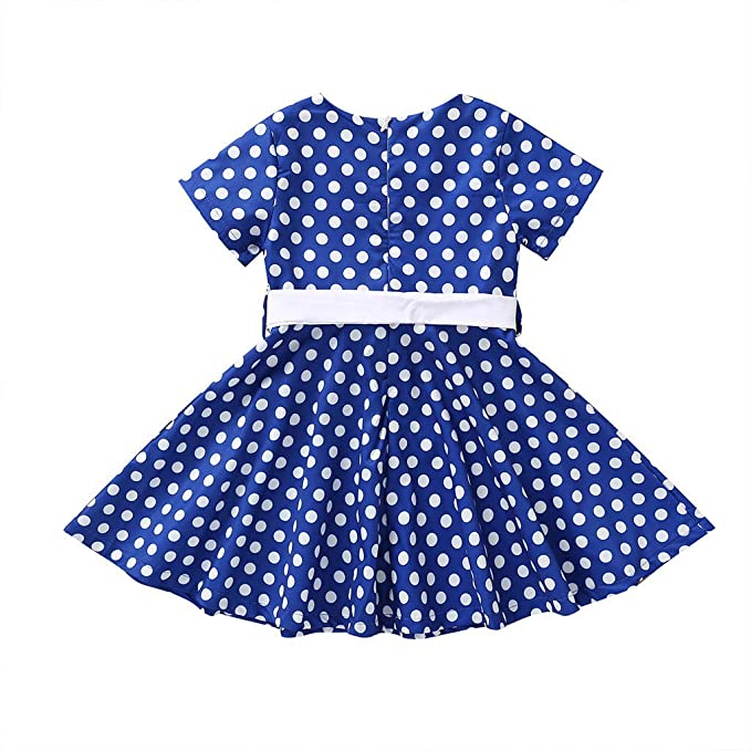 JUTOO Kinder M/ädchen Vintage Kleid Polka Dot Prinzessin Swing Kleid Party Kleider Festlich Kleid Hochzeit Partykleid