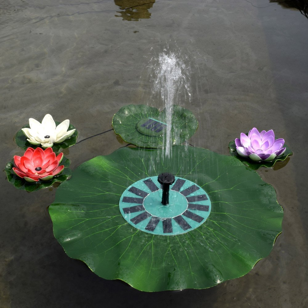 Anself Solar-power Lotus Leaf Fountain Pond Brushless Water Pump with Monocrystalline Solar Panel by Anself (Image #2)