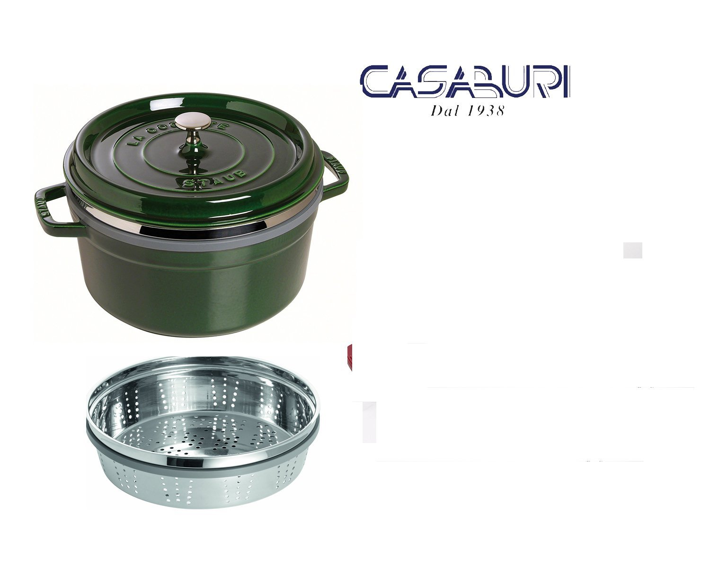 Staub cazuela verde redondo cm 26 con cesta vapor: Amazon.es ...
