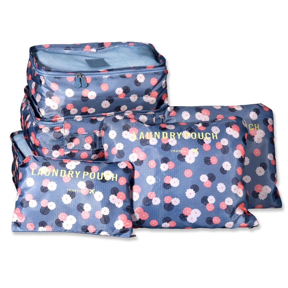 54d2247e6c17 Packing Cubes, TTBD Set of 6pcs Luggage Organiser Waterproof Clothes  Storage Bags with Laundry/Toiletry Bag for Travel or Household(Blue Daisy  ...