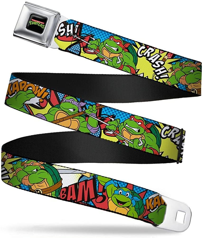 """Buckle-Down Seatbelt Belt - Classic TMNT Action Poses/Action Bubbles Dots Blues - 1.5"""" Wide - 32-52 Inches in Length"""