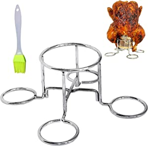 MamAnya's Useful Things Beer Can Chicken Holder Rack Vertical Roaster Stainless Steel Stand for Grill Oven or Smoker Easy to Use and Store Dishwasher Safe Non-Toxic BBQ with a Silicone Brush