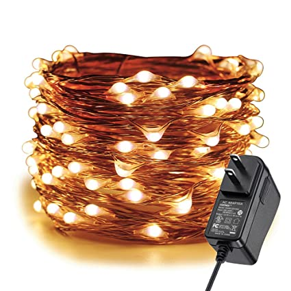 Indoor Light Warm White warm Copper 300LED Wire-Lights Waterproof Fairy Starry 100 Feet DC 12V for Party String-Light