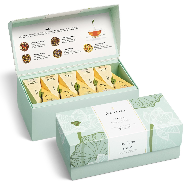 Tea Forté LOTUS Presentation Box Tea Sampler, Assorted Variety Tea Box, 20 Handcrafted Pyramid Tea Infuser Bags - Black Tea, Green Tea, Oolong Tea, White Tea, Herbal Tea