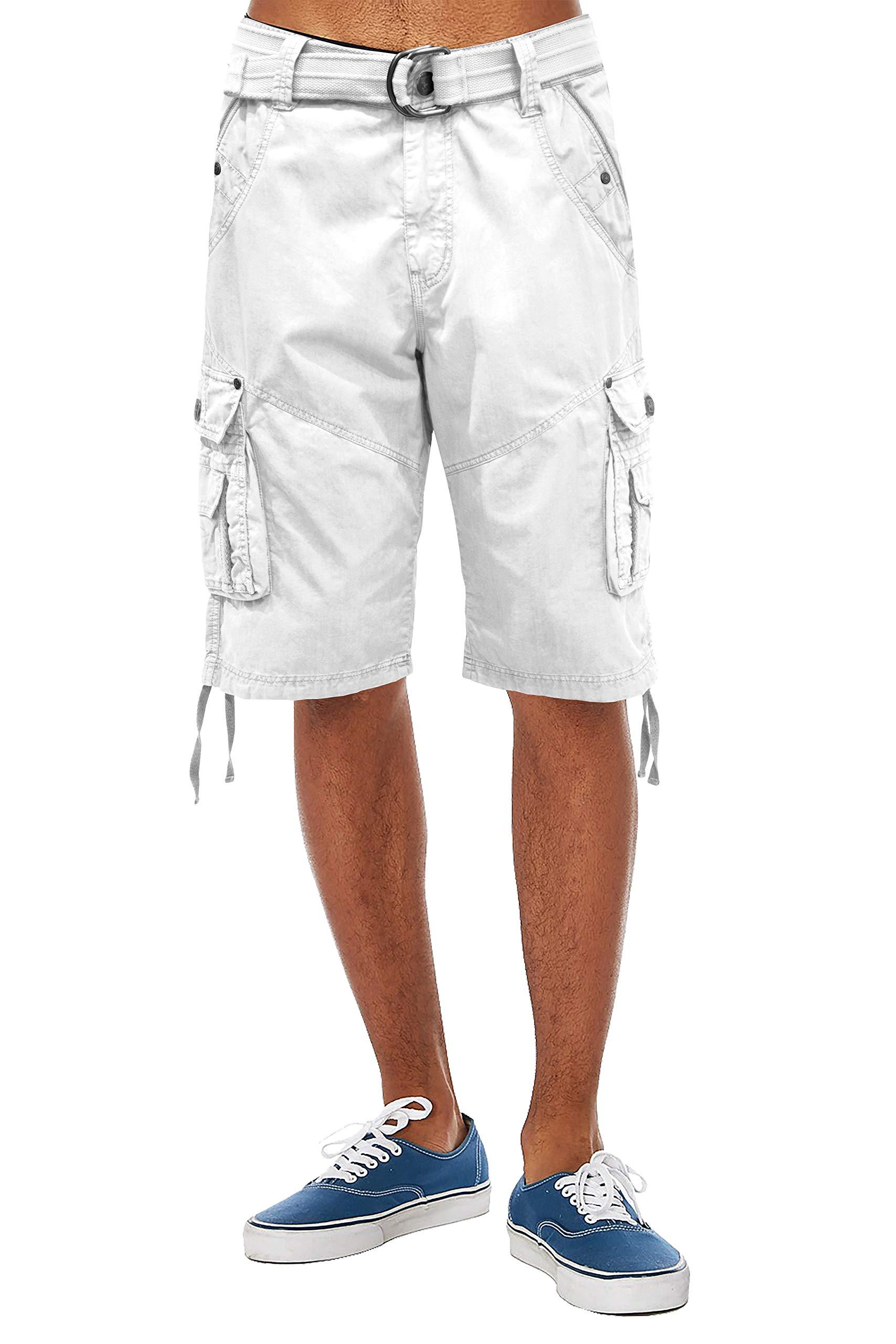 ETHANOL Mens Everyday Belted Cargo Shorts ASH44088 White 34