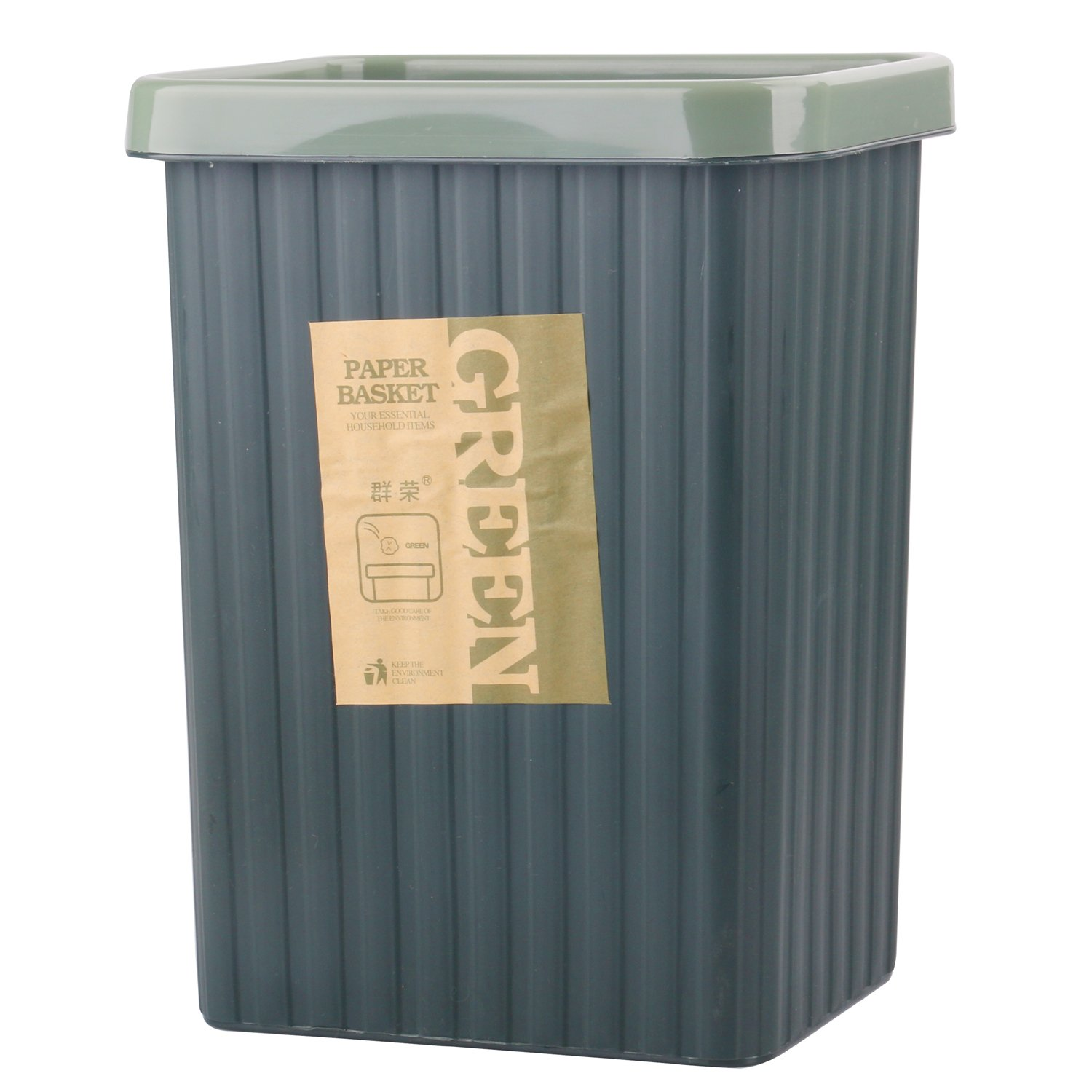 Kleanner Household Rectangle Plastic Trash Can Wastebasket For Office,Living Room,Bath Room (6L/1.2Gal Green)