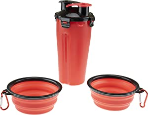 2-in-1 Portable Dog Water Bottle with Silicone Collapsible Pet Food Bowls for Walking, Hiking, Camping, Travel and Other Outdoor Activities, Red