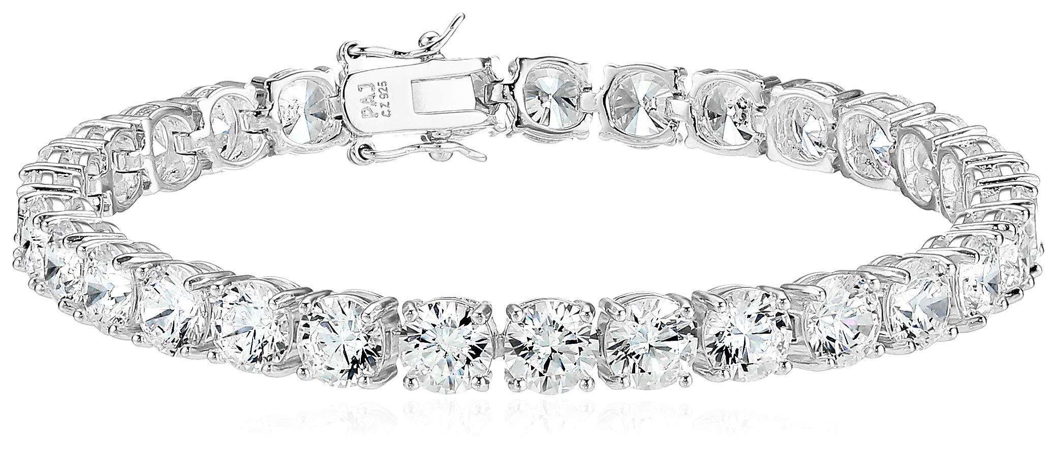 Amazon Essentials Platinum Plated Sterling Silver Round Cut Cubic Zirconia Tennis Bracelet (6mm), 7''
