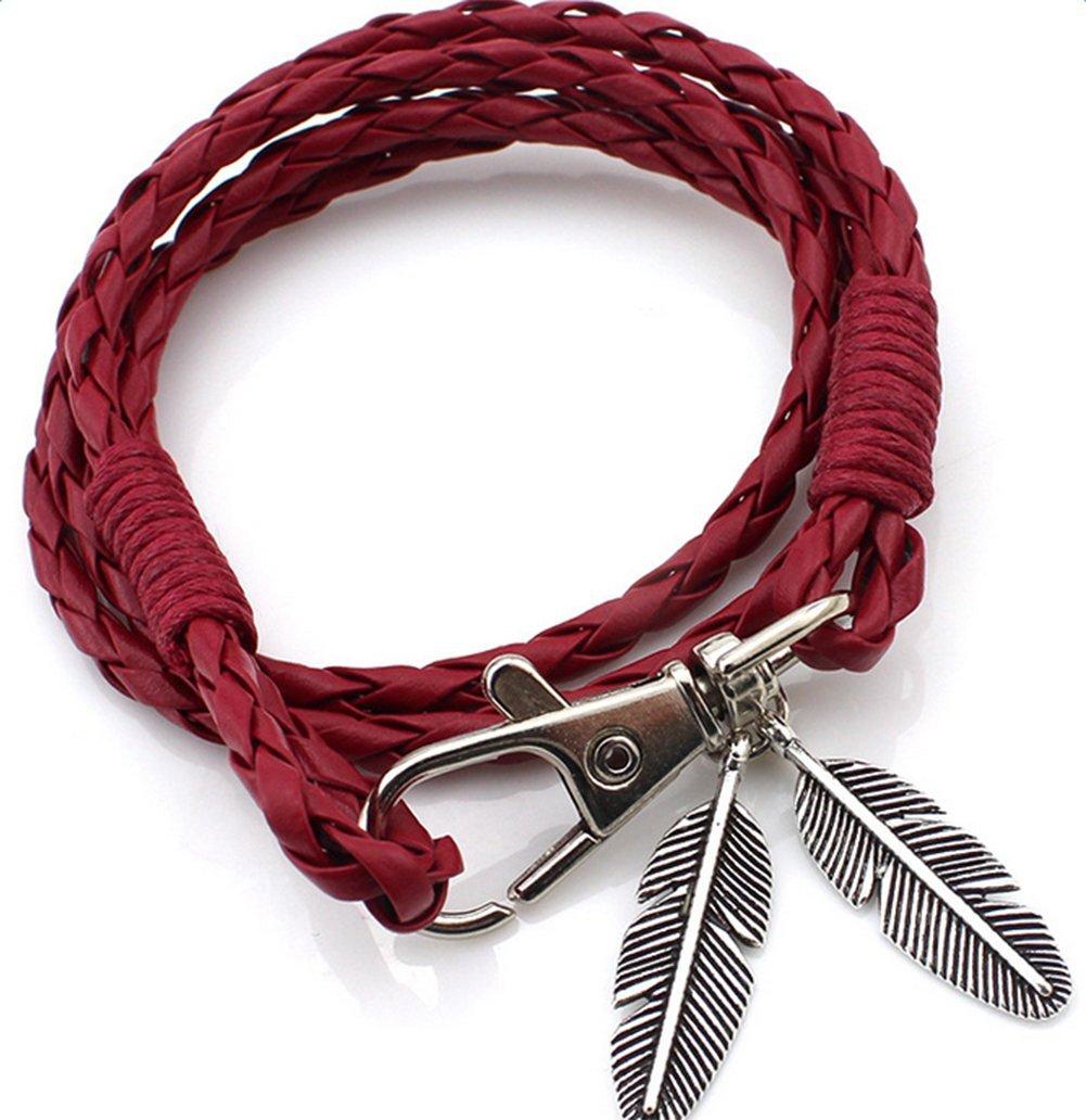 Cosanter unisex bracciale Charm retro PU argento placcato foglia pendente a catena per uomo donna ragazze feste decorazione regali di compleanno